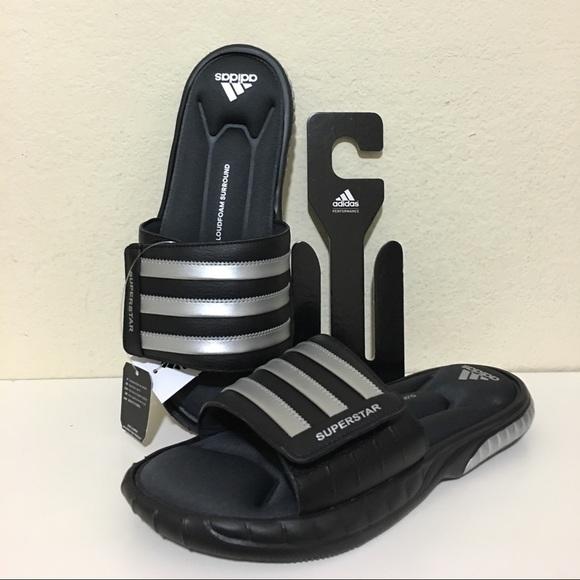 49c4d74a950 Adidas Superstar 3G Slide Sandals Black Silver NWT